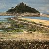 Mixed Media acrylic pallet knife painting and collage. St Michaels Mount, Cornwall