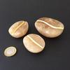 3 Small Coffee Beans - Agata Scuro Alabaster (light) & 23.5 ct gold leaf