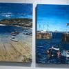 Mixed Media acrylic pallet knife painting and collage bot of Mousehole, Cornwall