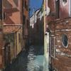 Mixed Media acrylic pallet knife painting and collage of beautiful Venice!