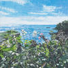 Mixed Media acrylic pallet knife painting and collage. The beautiful view on my walk to Sugary Cove, Dartmouth, Devon