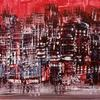 Red City Abstract. Encaustic wax. Phil Madley. Original £150. Framed.