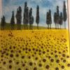 Sunflowers in Provence, fused Bullseye glass, powders and frit.