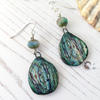 Ceramic and Czech glass bead earrings
