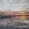 Quay Sunset, linocut by Alexandra Buckle
