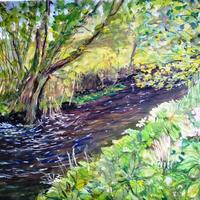 Dowrie Burn, Aberdeenshire -- Inktense on paper - Illustration from the book The Tale of Three of Three Trout