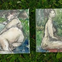 4 inch by 4 inch canvases life drawings - ink tense