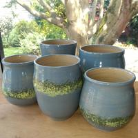 five_stoneware_vases_with_grey_green_and_yellow_slip