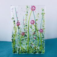 Pink fused glass meadow Tealight holder