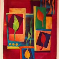 Art quilt comprising hand dyed cottons, fused applique with free-motion embroidery and mounted on canvas