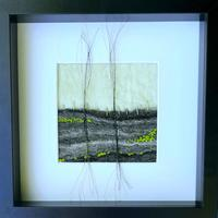Wet felted abstract landscape, made from pure wool, horsehair and embroidery