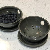 Stoneware Berry bowls with saucer.