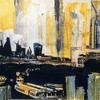 """""""City scape"""". Mixed Media with transfer printing."""