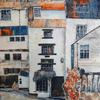 Tall Stories, Staithes using painted papers , collage and acrylic and inks