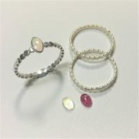 Silver Stacking Rings set with a variety of round and oval Semi-Precious Cabochons