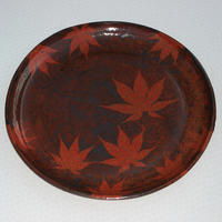 Large platter, 37 cm diameter, decorated with leaves