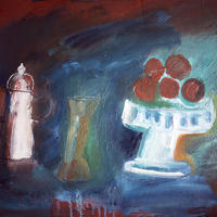 Still Life with Tomatoes (oil on paper)