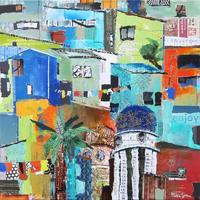 Hillside Town Ecuador 1, Acrylic with Collage, 40 x 40 cm