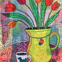 'Tulips & Coffee' mixed media painting