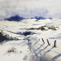 snowy treck home  Contemporary Watercolour painting
