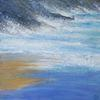 Blue Sky Reflections on the Incoming Tide. Acrylic and mixed media on canvas. 20 x 20 ins