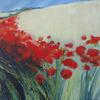 Poppies  by the Lane, Blue Sky Above. Acrylic on canvas. 20 x 20 ins ( 51 x 51 cm)