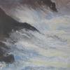 Silver Spray, Sun Glints,, Dark Cliffs, Seagulls. Acrylic on board. 12 x 12 ins ( 30 x 30 cm)
