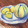 Melon and lemons on Limoge porcelain, pastel and ink