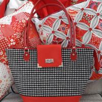 Red collection of bags and cushions