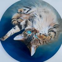 A back rub in the sun-Oils 24in round Canvas