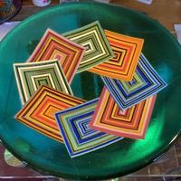 Geometric design bowls. Emerald