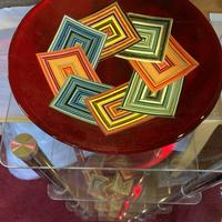 Geometric design bowls. Red reflection