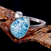 Fused glass and silver ring