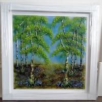 Fused glass silver birch tree picture