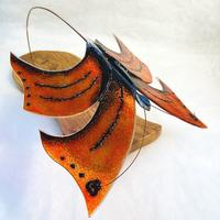 Red Admiral - Fused Glass and reclaimed wood freestanding art by Vitreus Art
