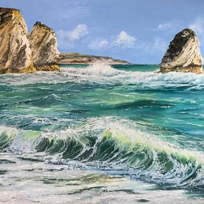Freshwater Bay Isle Of Wight, oil on canvas