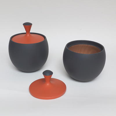Round lidded pots, cherry with grey and orange
