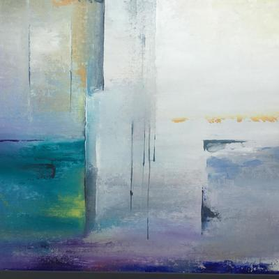 Colourful large abstract (portrait aspect) with turquoise and purples, yellow and neutrals