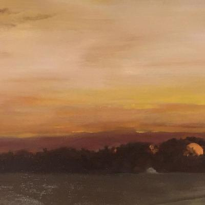 Winter sunrise over East Wood II, oil on canvas