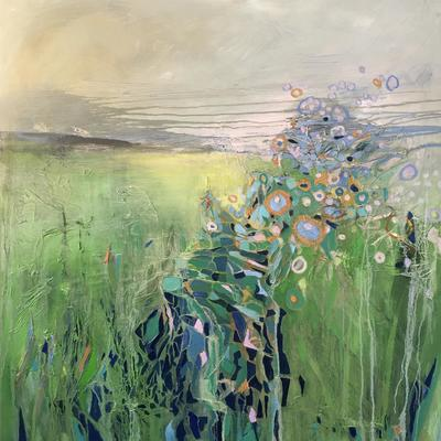 Stream with Foliage.    100x100 cms.   Oil and mixed media on canvas