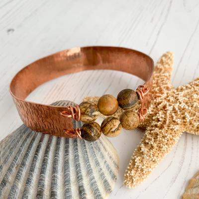Copper bangle with jasper gemstone beads