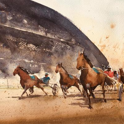 The exciting finish to a 'Harness Race'