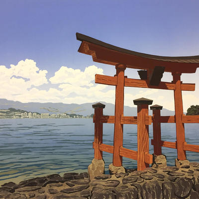 Torii Sea View, linocut - preselected for the RA Summer Exhibition