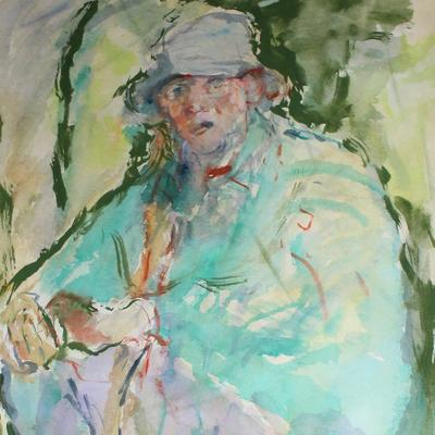 Watercolour portrait of woodland archaeologist Stuart King made in Joneses Hill Wood