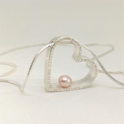 Silver and Pearl Heart Pendant handmade by Liz Dee