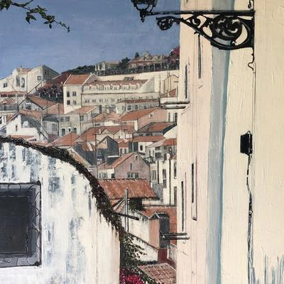 Mixed Media, Collage, Cities, Lisbon, Bougainvillea, Roof Tops, Lanterns .