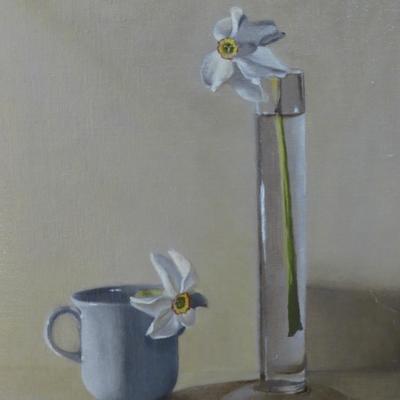 Pheasants' Eye Narcissi - Distanced. Oil on board. 30x41cms.