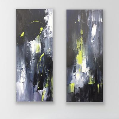 Pair of abstract original acrylic paintings by Claire Burke