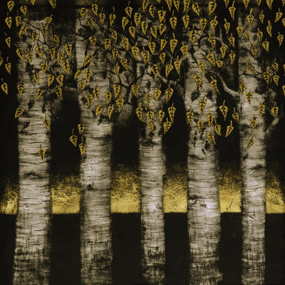 Gold Leaves Silver Birch glass wall piece