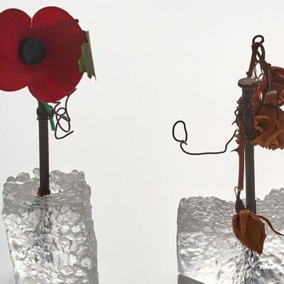 Remembrance - Jane Vincent cast glass with nail & found objects